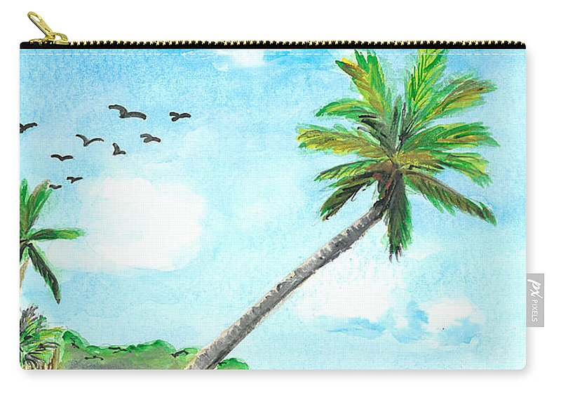 Beach Carry-all Pouch featuring the painting Palm Over Diani Beach by Katie Sasser