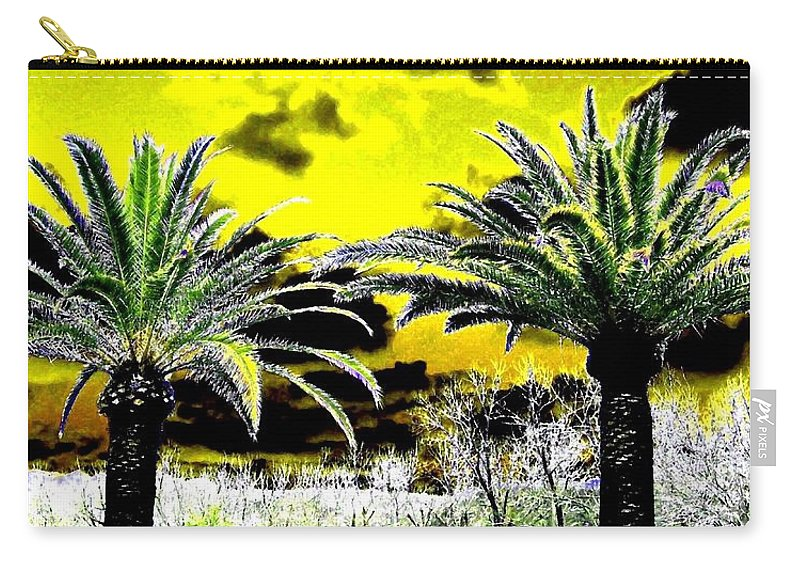 Palm Trees Carry-all Pouch featuring the digital art Palm Paradise  by Will Borden