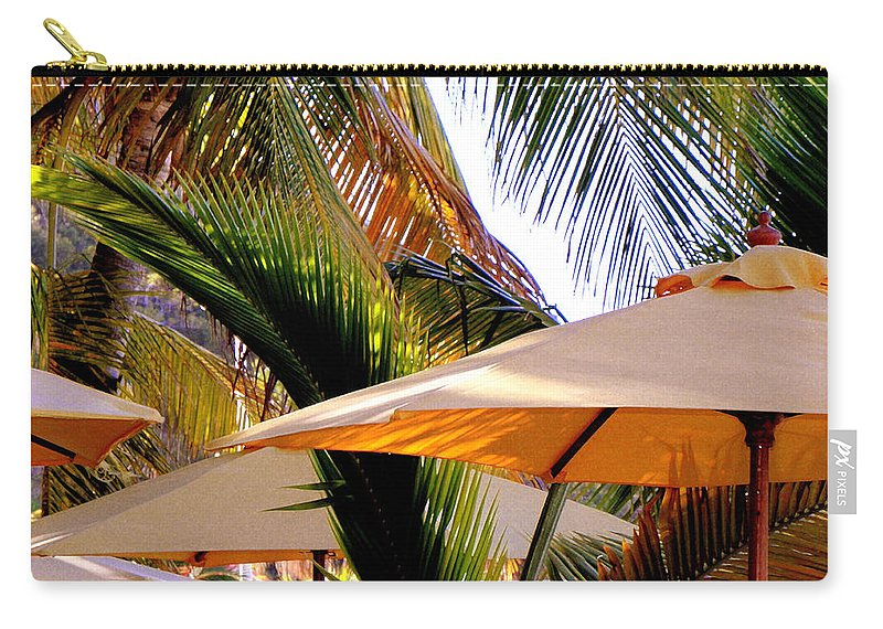 Umbrellas Carry-all Pouch featuring the photograph Palm Serenity by Karen Wiles
