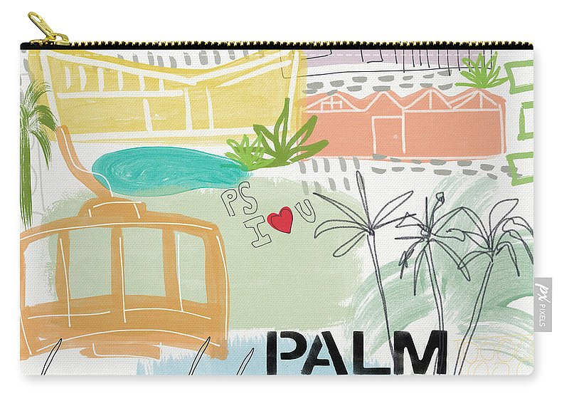 Palm Springs California Carry-all Pouch featuring the painting Palm Springs Cityscape- Art By Linda Woods by Linda Woods