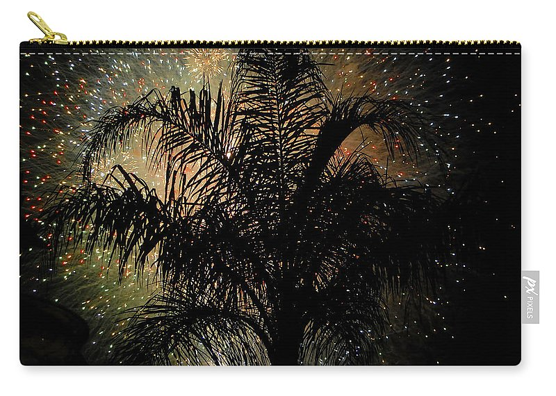 Fireworks Carry-all Pouch featuring the photograph Palm Tree Fireworks by David Lee Thompson