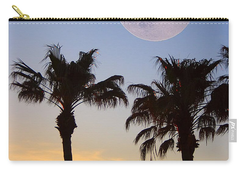 Palm Carry-all Pouch featuring the photograph Palm Tree Full Moon Sunset by James BO Insogna