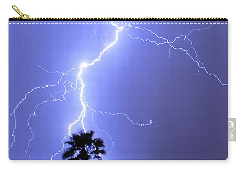 Lightning Carry-all Pouch featuring the photograph Palm Tree On Strike by James BO Insogna