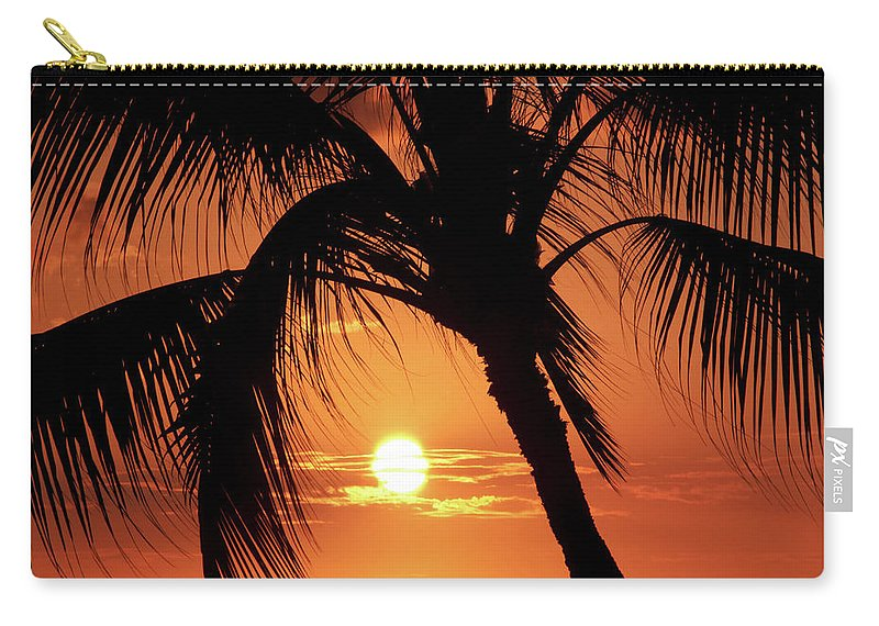 Palm Tree Carry-all Pouch featuring the photograph Palm Tree Silhouette by Christopher Johnson