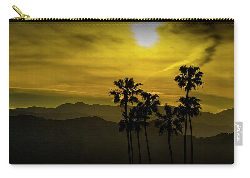 Tree Carry-all Pouch featuring the photograph Palm Trees At Sunset With Mountains In California by Randall Nyhof