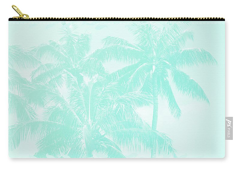 Aloha Carry-all Pouch featuring the photograph Palm Trees Hawaii Tropical Cyan by Sharon Mau