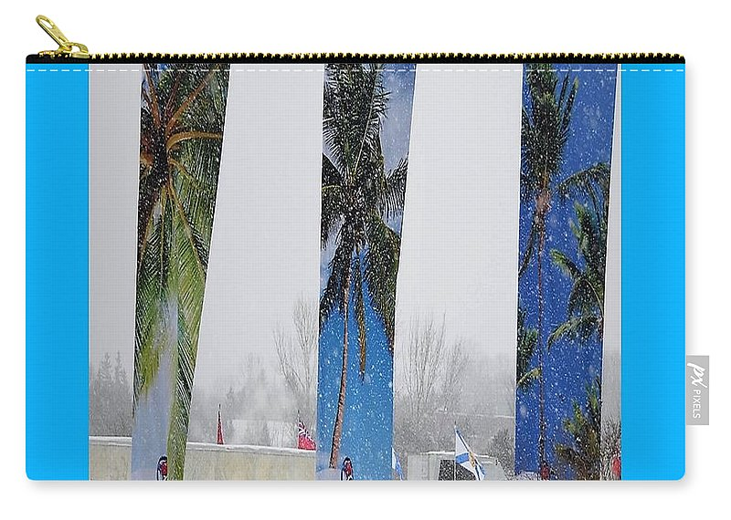 Yard Flags Carry-all Pouch featuring the digital art Palm Trees In Snowstorm by Lj White