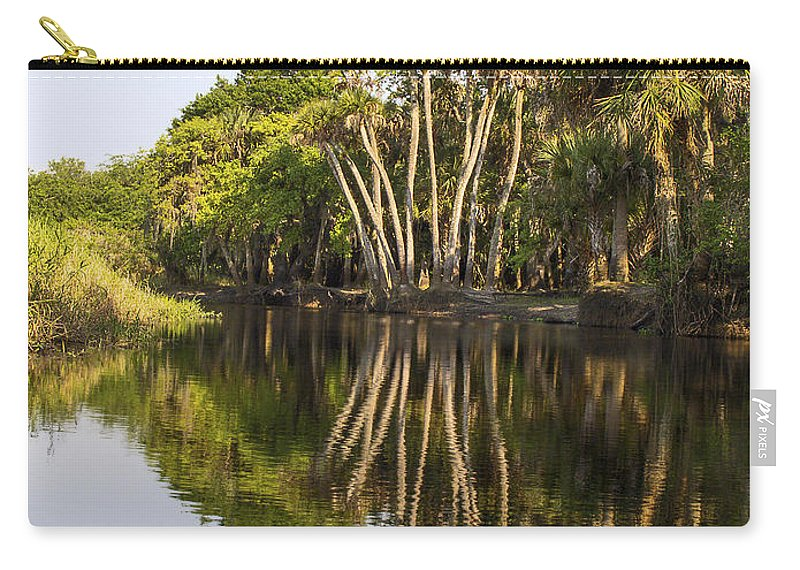 Tall Palm Trees Reflected In Water Carry-all Pouch featuring the photograph Palm Trees Reflections by Sally Weigand