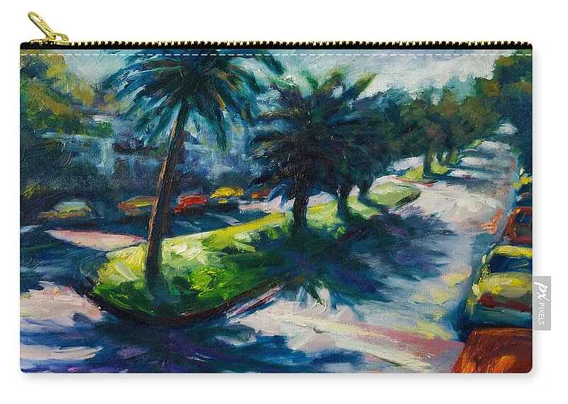 Cityscape Carry-all Pouch featuring the painting Palm Trees by Rick Nederlof