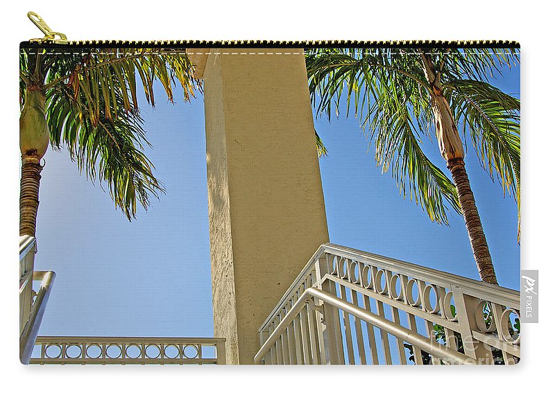 Palm Carry-all Pouch featuring the photograph Palms And Stairs by Zal Latzkovich