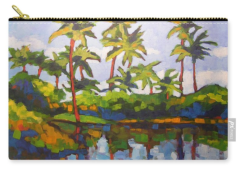 Hawaiian Carry-all Pouch featuring the painting Palms Reflections by Mary McInnis