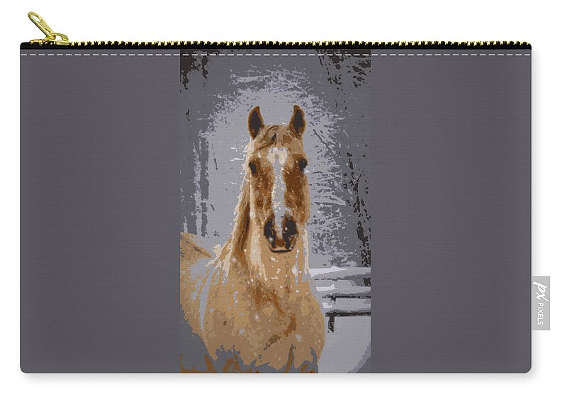 Horse Carry-all Pouch featuring the photograph Palomino In The Snow by Tina Meador