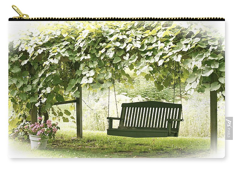 Grape Arbor Carry-all Pouch featuring the photograph Pammys Swing by Penny Neimiller