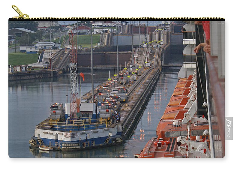 Panama Carry-all Pouch featuring the digital art Panama Canal by Heather Coen