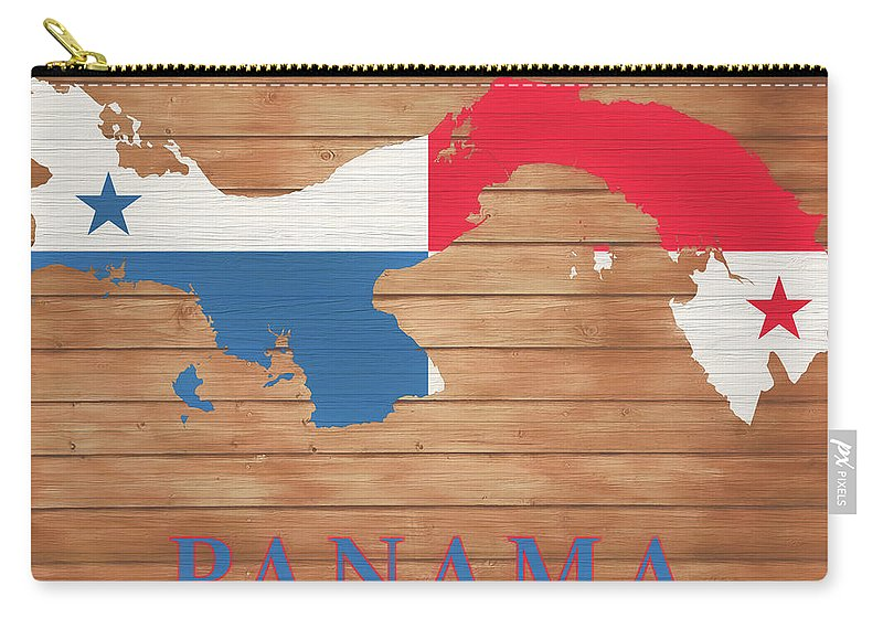 Panama Rustic Map On Wood Carry-all Pouch featuring the mixed media Panama Rustic Map On Wood by Dan Sproul