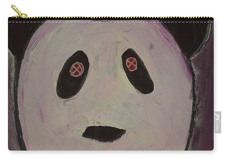 #panda #art #fineart Carry-all Pouch featuring the painting Panda by Aj Watson