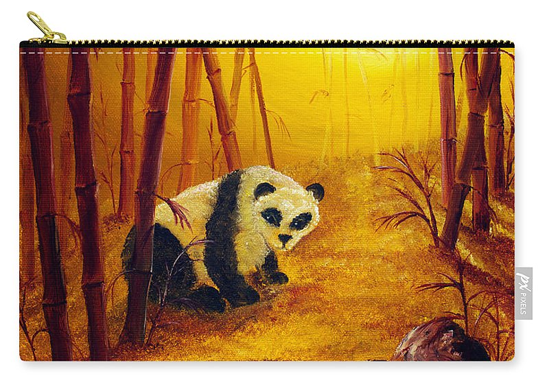 Zen Carry-all Pouch featuring the painting Panda In Sunset Bamboo by Laura Iverson