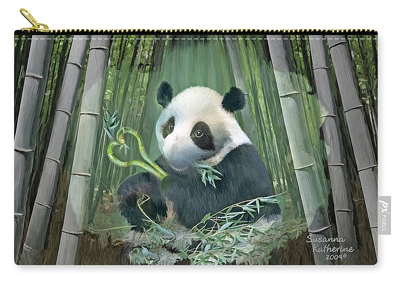 Panda Carry-all Pouch featuring the painting Panda Love by Susanna Katherine