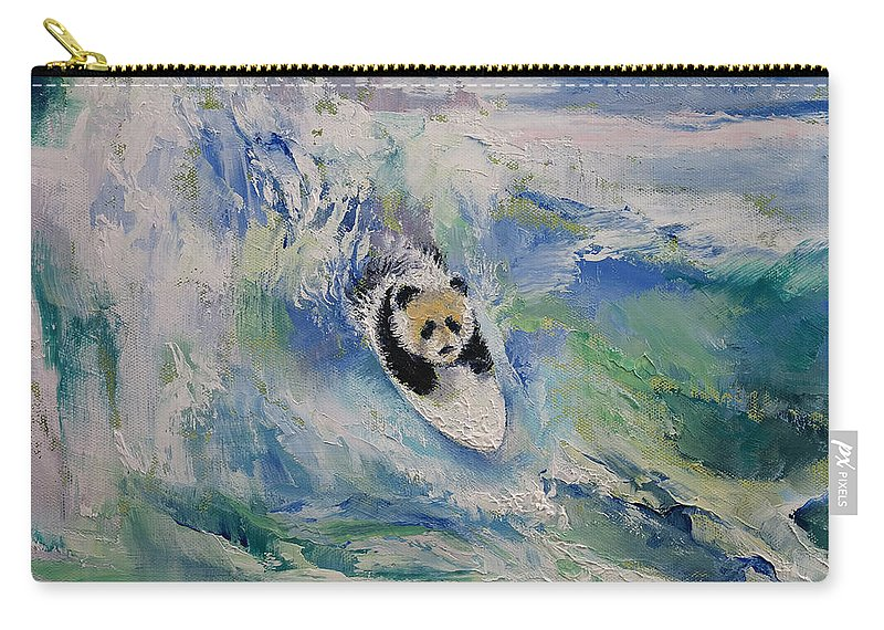 Panda Surfer Carry All Pouch For Sale By Michael Creese