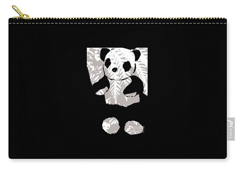 Panda Black And White Carry-all Pouch featuring the painting panda XXX by Lyz Armstrong