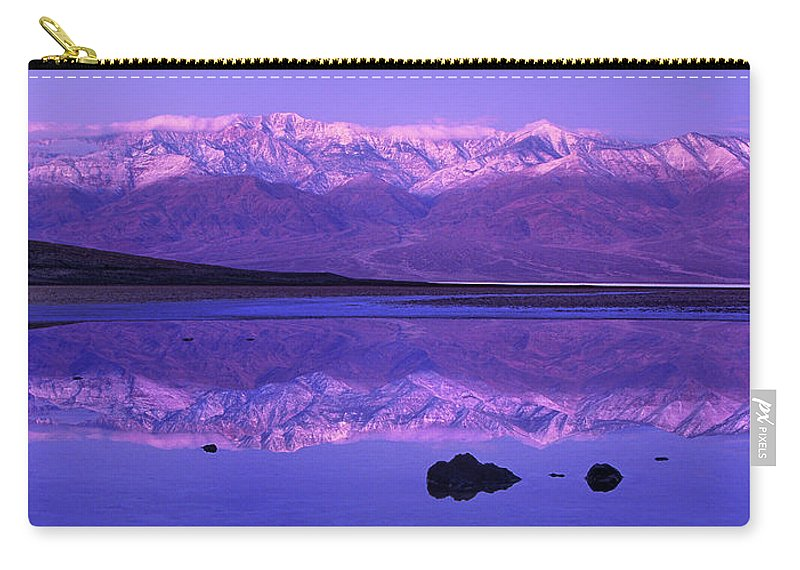 North America Carry-all Pouch featuring the photograph Panorama Badwater And The Panamint Range At Sunrise Death Valley by Dave Welling