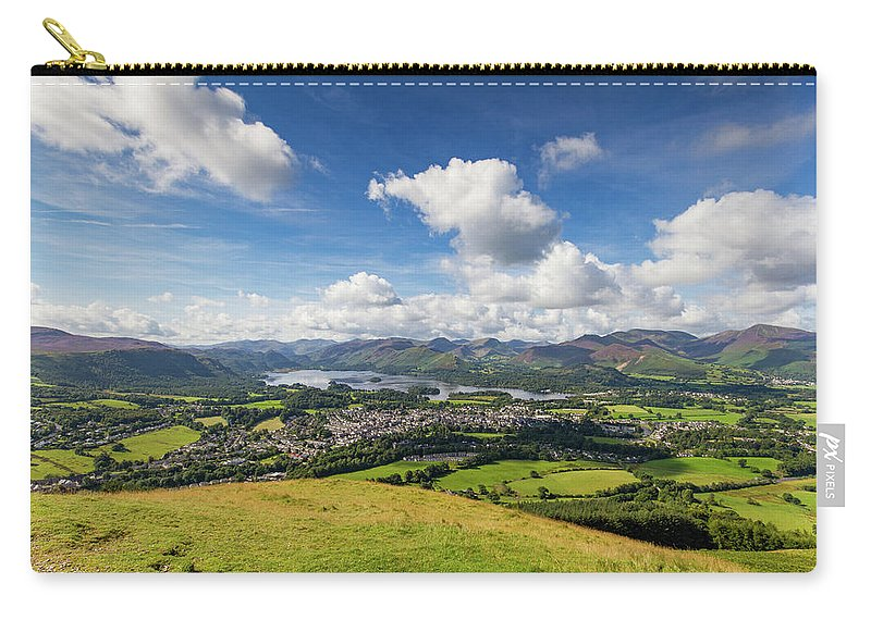 Cumbria Lake District Carry-all Pouch featuring the photograph Panorama Of Keswick And Lake Derwent Water Panorama From Latrigg by Iordanis Pallikaras