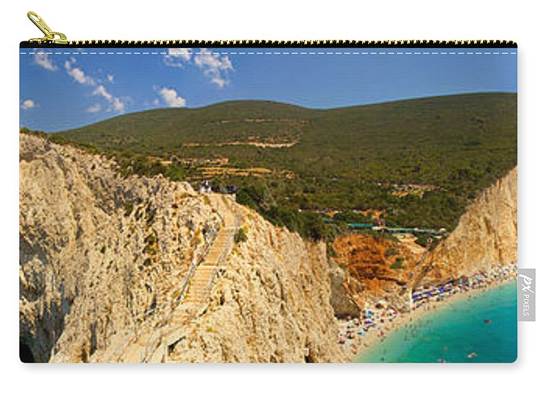 Panorama Carry-all Pouch featuring the photograph Panorama Of Porto Katsiki Famous Paradise Beach by Sandra Rugina