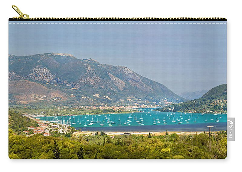 Panorama Carry-all Pouch featuring the photograph Panorama On Greek Island by Sandra Rugina