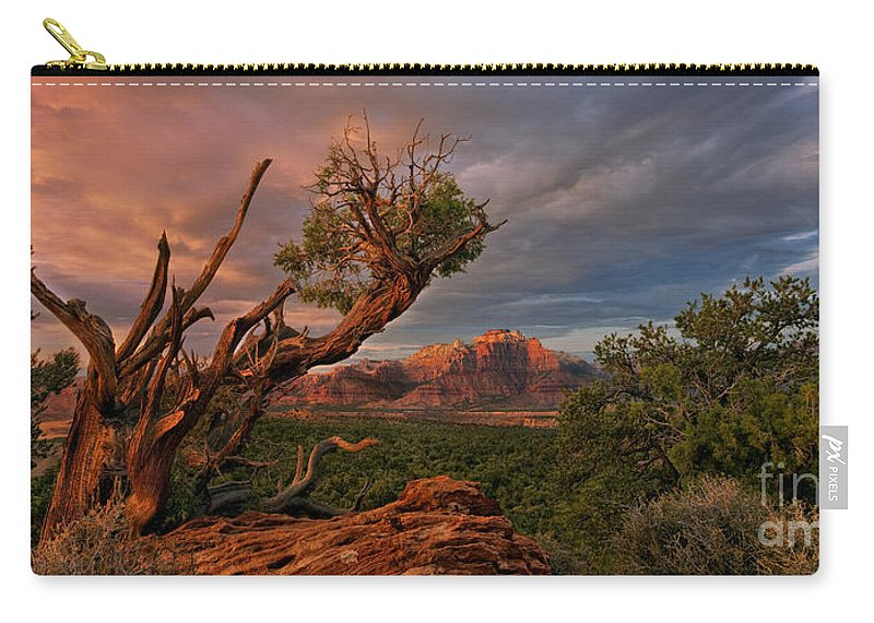 North America Carry-all Pouch featuring the photograph Panorama Storm Back Of Zion Near Hurricane Utah by Dave Welling