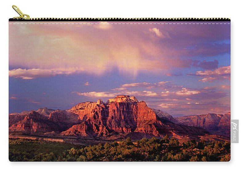 North America Carry-all Pouch featuring the photograph Panorama West Temple At Sunset Zion Natonal Park by Dave Welling