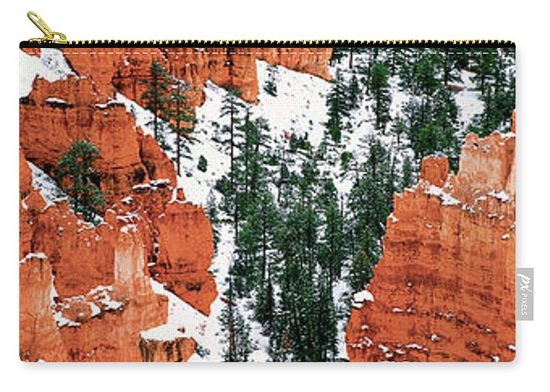 North America Carry-all Pouch featuring the photograph Panorama Winter Storm Blankets Thors Hammer Bryce Canyon Utah by Dave Welling