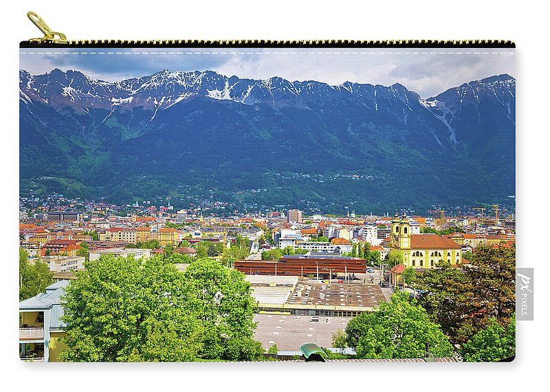 Innsbruck Carry-all Pouch featuring the photograph Panoramic Aerial View Of Innsbruck And Hafelekarspitze Mountain by Brch Photography