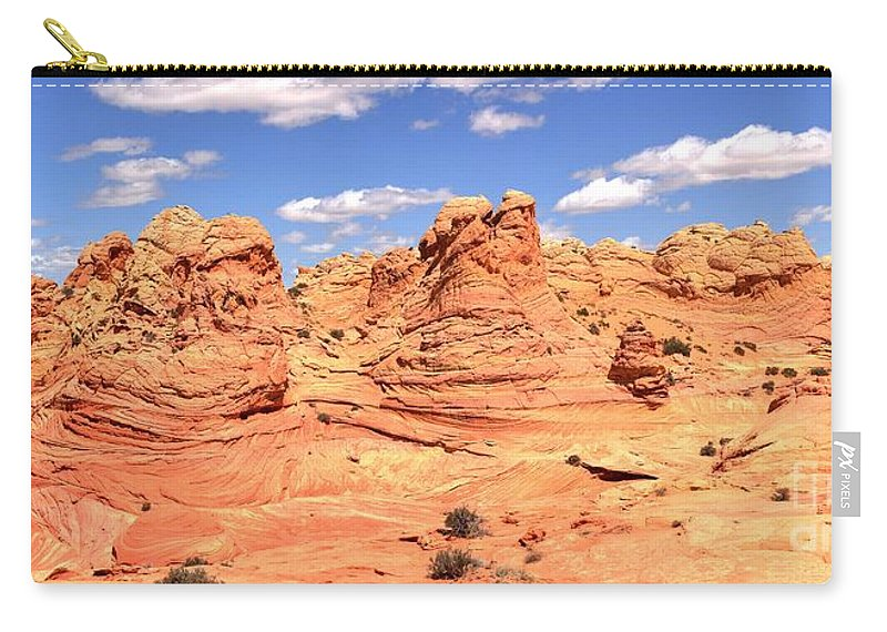Vermilion Cliffs Panorama Carry-all Pouch featuring the photograph Panoramic Desert Landscape Fantasyland by Adam Jewell