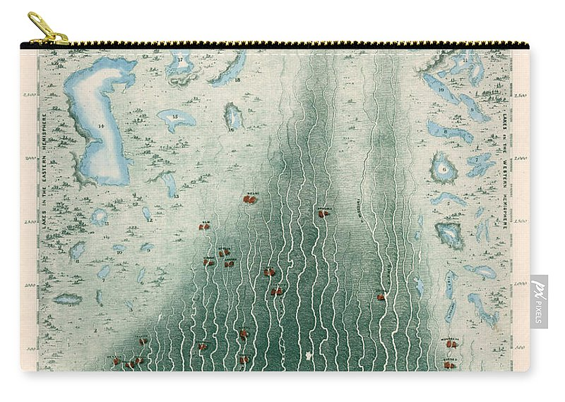 Panoramic Plan Carry-all Pouch featuring the drawing Panoramic Plan Of The Principal Rivers And Lakes - Historical Chart by Studio Grafiikka