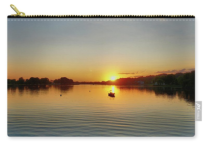 Panoramic Sunset Carry-all Pouch featuring the digital art Panoramic Sunset by Lilia D