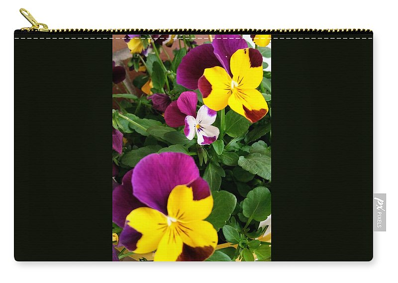 Pansies Carry-all Pouch featuring the photograph Pansies 3 by Valerie Josi