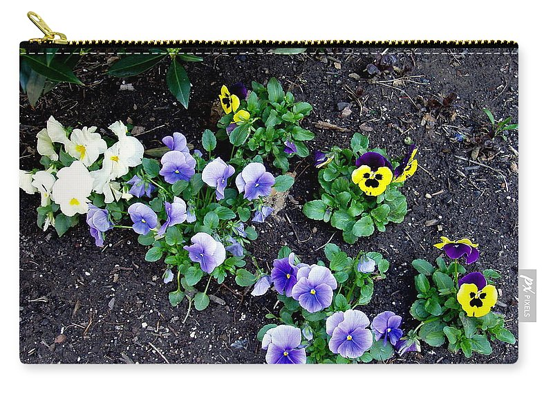 Flowers Carry-all Pouch featuring the photograph Pansies by Deborah Crew-Johnson