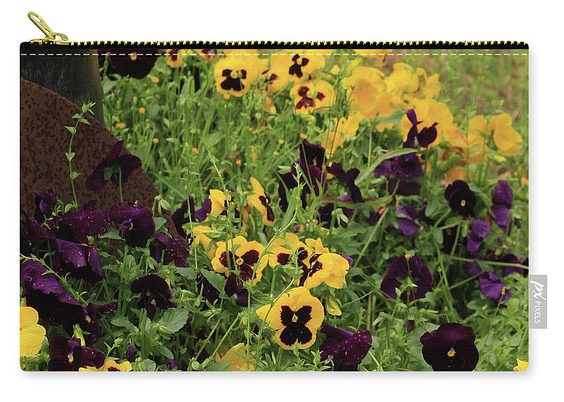 Pansies Carry-all Pouch featuring the photograph Pansies by Kim Henderson