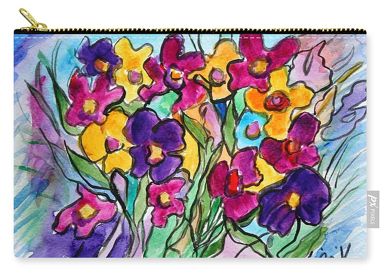 Flowers Carry-all Pouch featuring the painting Pansies by Luiza Vizoli