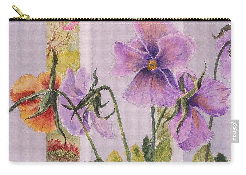 Florals Carry-all Pouch featuring the painting Pansies On My Porch by Mary Ellen Mueller Legault
