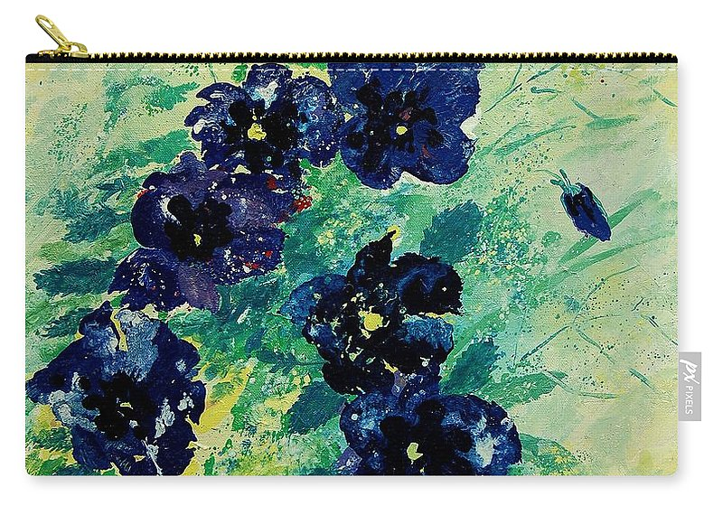 Flowers Carry-all Pouch featuring the painting Pansies by Pol Ledent
