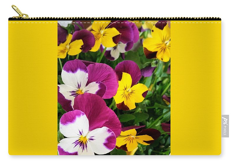 Flowers Carry-all Pouch featuring the photograph Pansies by Valerie Josi