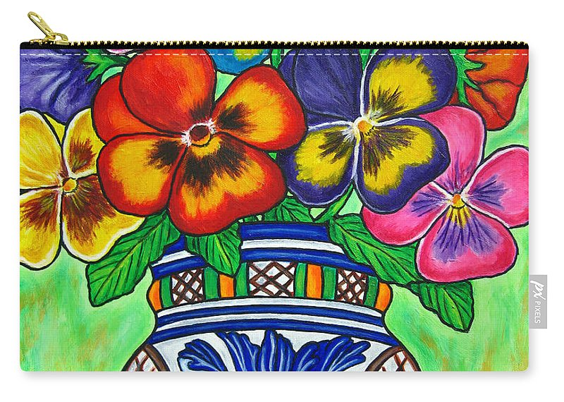 Flower Carry-all Pouch featuring the painting Pansy Parade by Lisa Lorenz