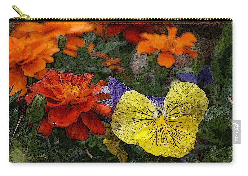 Pansy Carry-all Pouch featuring the photograph Pansy Play by Heather Coen