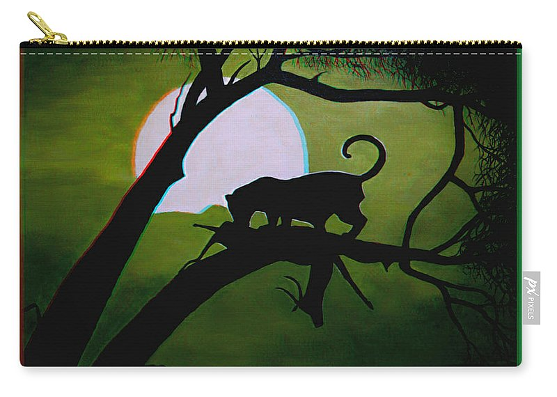 3d Carry-all Pouch featuring the photograph Panther Silhouette - Use Red-cyan 3d Glasses by Brian Wallace
