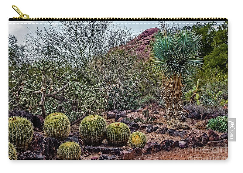 Jon Burch Carry-all Pouch featuring the photograph Papago And Barrels by Jon Burch Photography