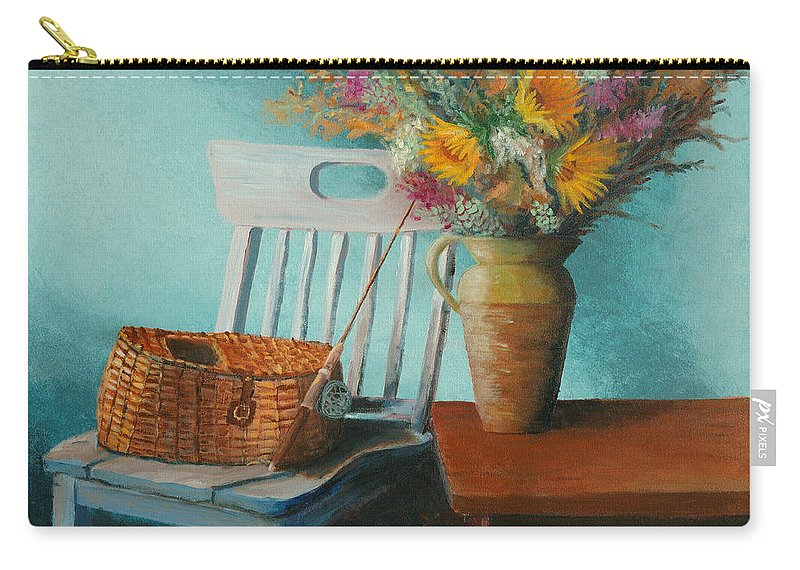 Floral Carry-all Pouch featuring the painting Papa's Pole by Jerry McElroy