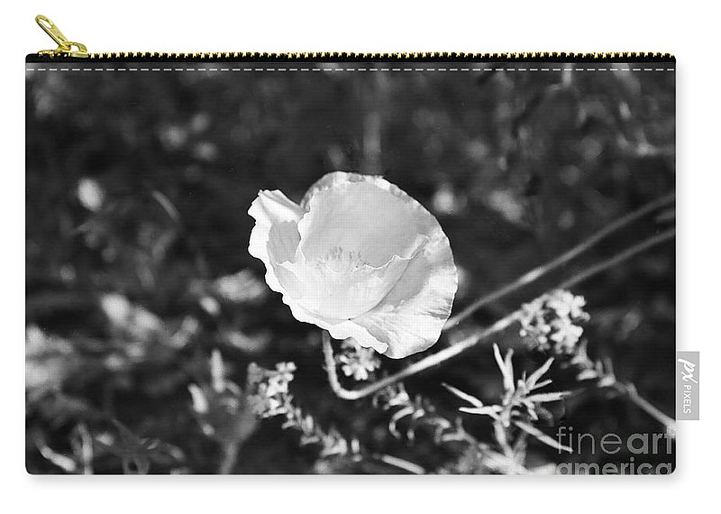 Flowers Carry-all Pouch featuring the photograph Paper Flower In B And W by Kathy McClure