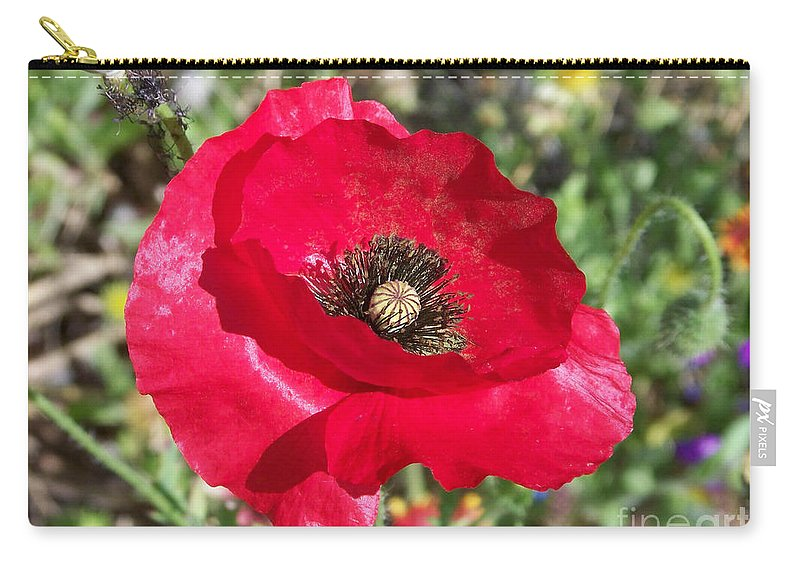 Red Carry-all Pouch featuring the photograph Paper Flower by Kathy McClure