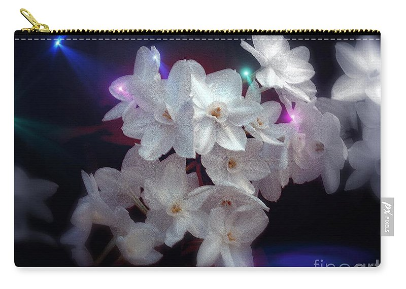 Paperwhite Narcissus And Holiday Lights Carry-all Pouch featuring the photograph Paperwhites by Len-Stanley Yesh